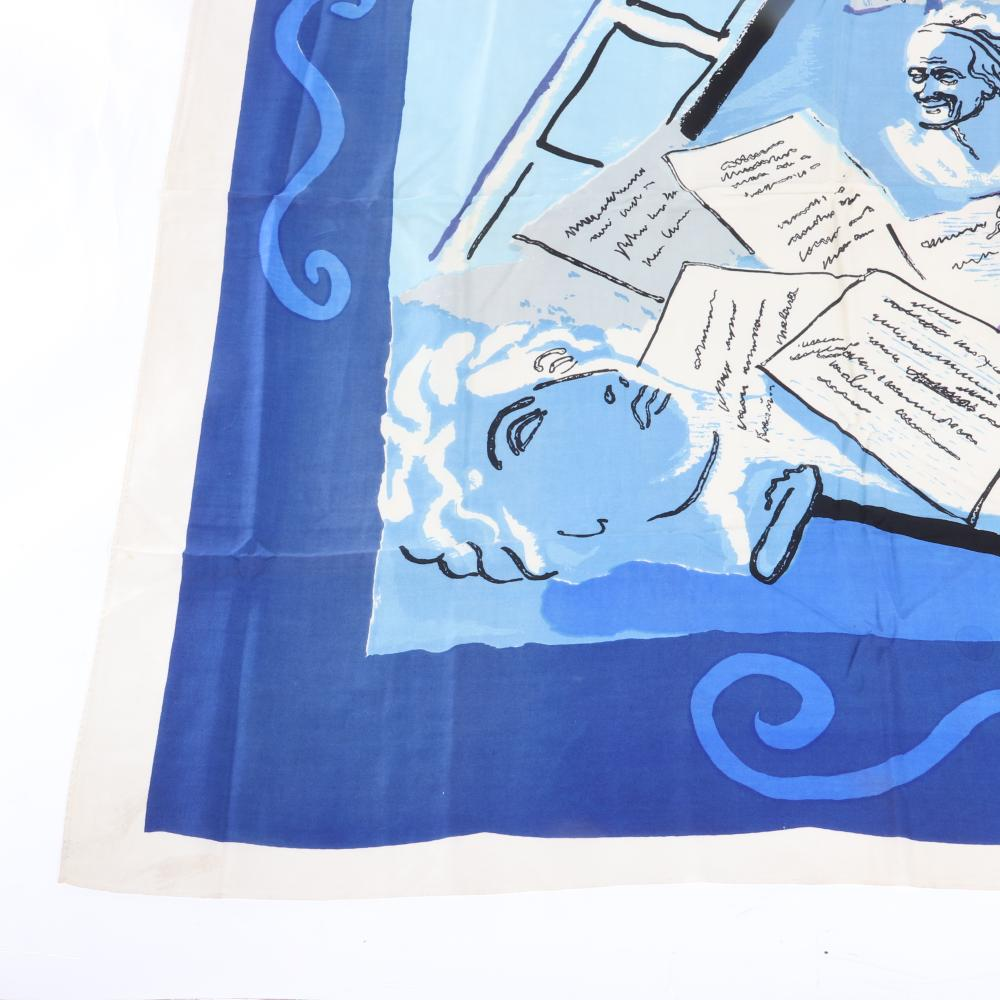 """Eisenberg Original Shakespeare themed scarf with playwrights desk, feather quill, inkwell, books and written pages in shades of blue and and lavender, signed RBW, c. 1940s. 38"""" x 38"""""""