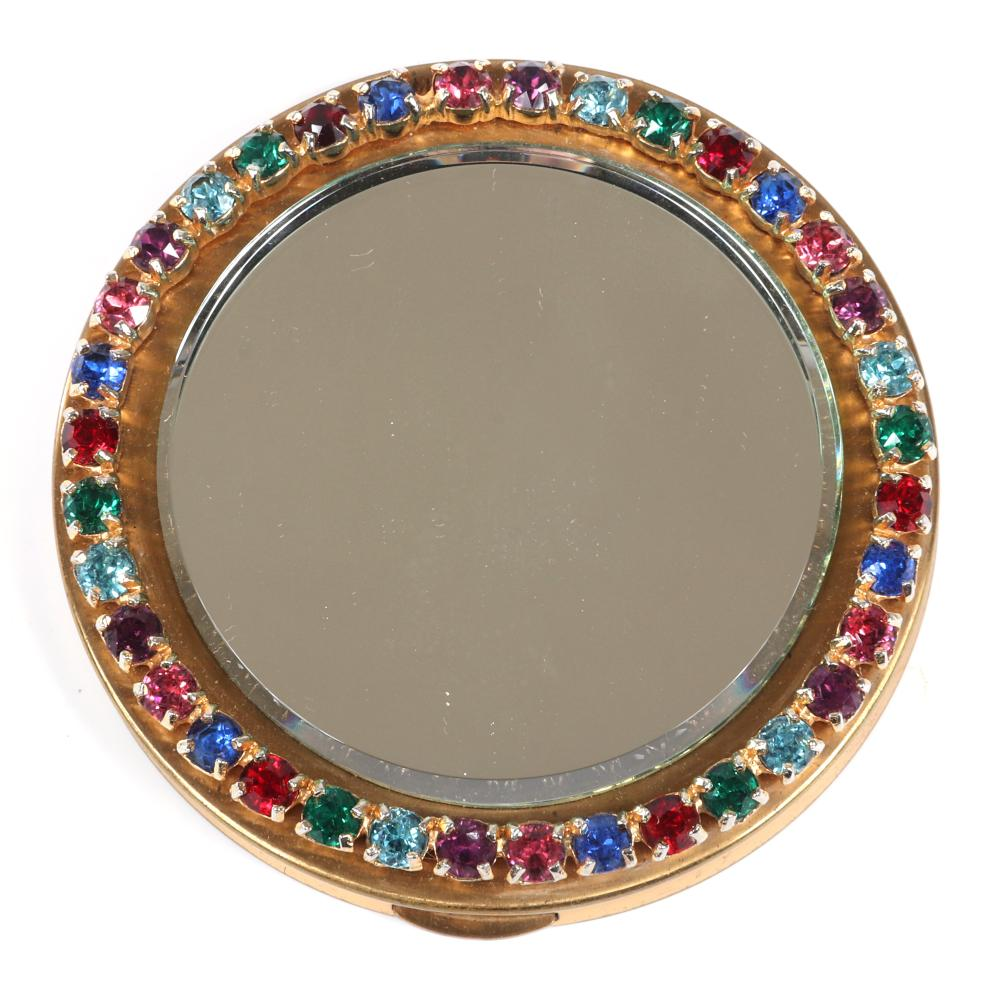 "Eisenberg Original compact exterior beveled-mirror edged in multicolor prong-set jewel-toned prong-set round rhinestones with powder compartment & original box, c. 1940s. 3 1/4""diam."