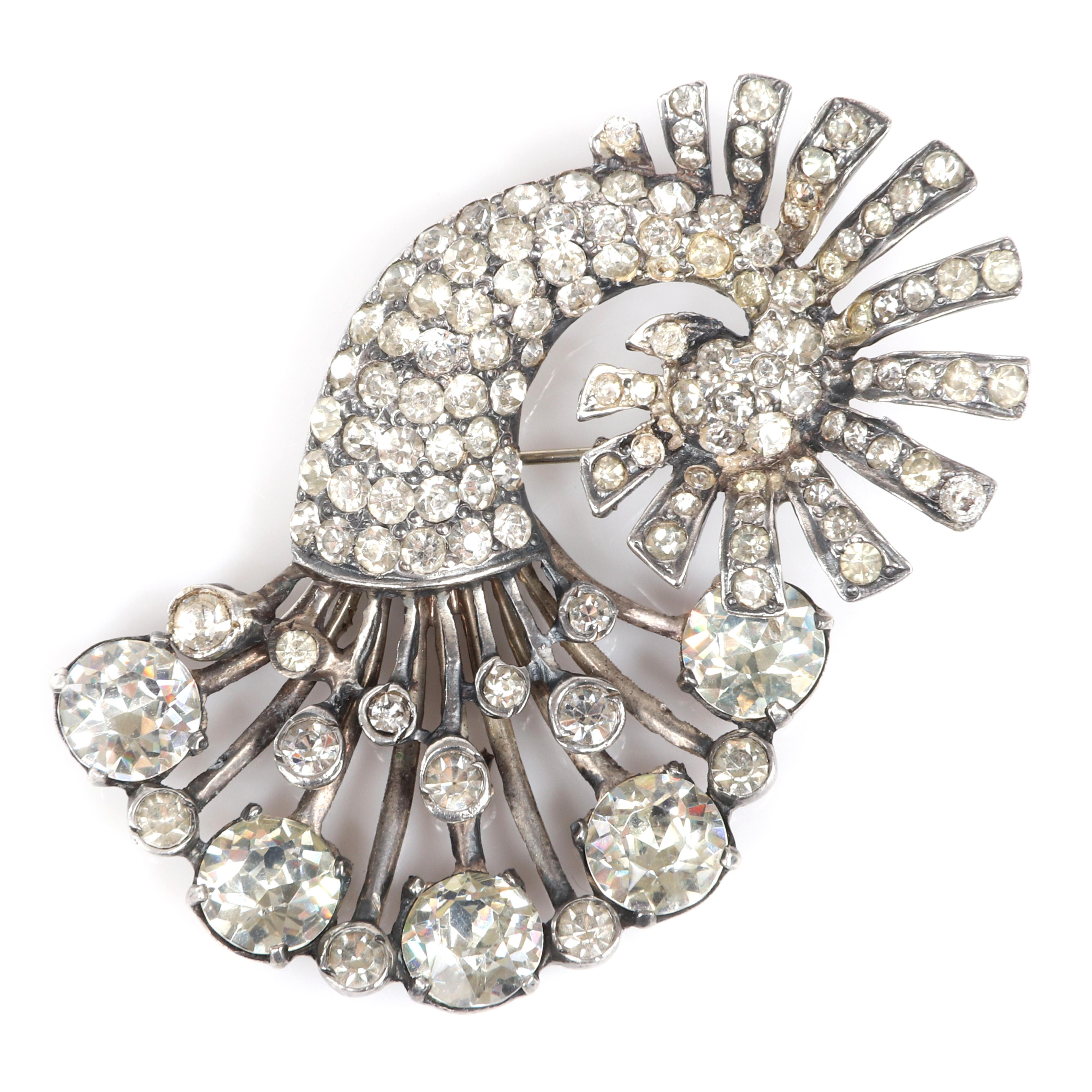 """Eisenberg Original sterling silver cornucopia spray pin with large round rhinestones, bezel-sets and pave details, with setter's mark. 2 1/2"""" x 1 3/4"""""""