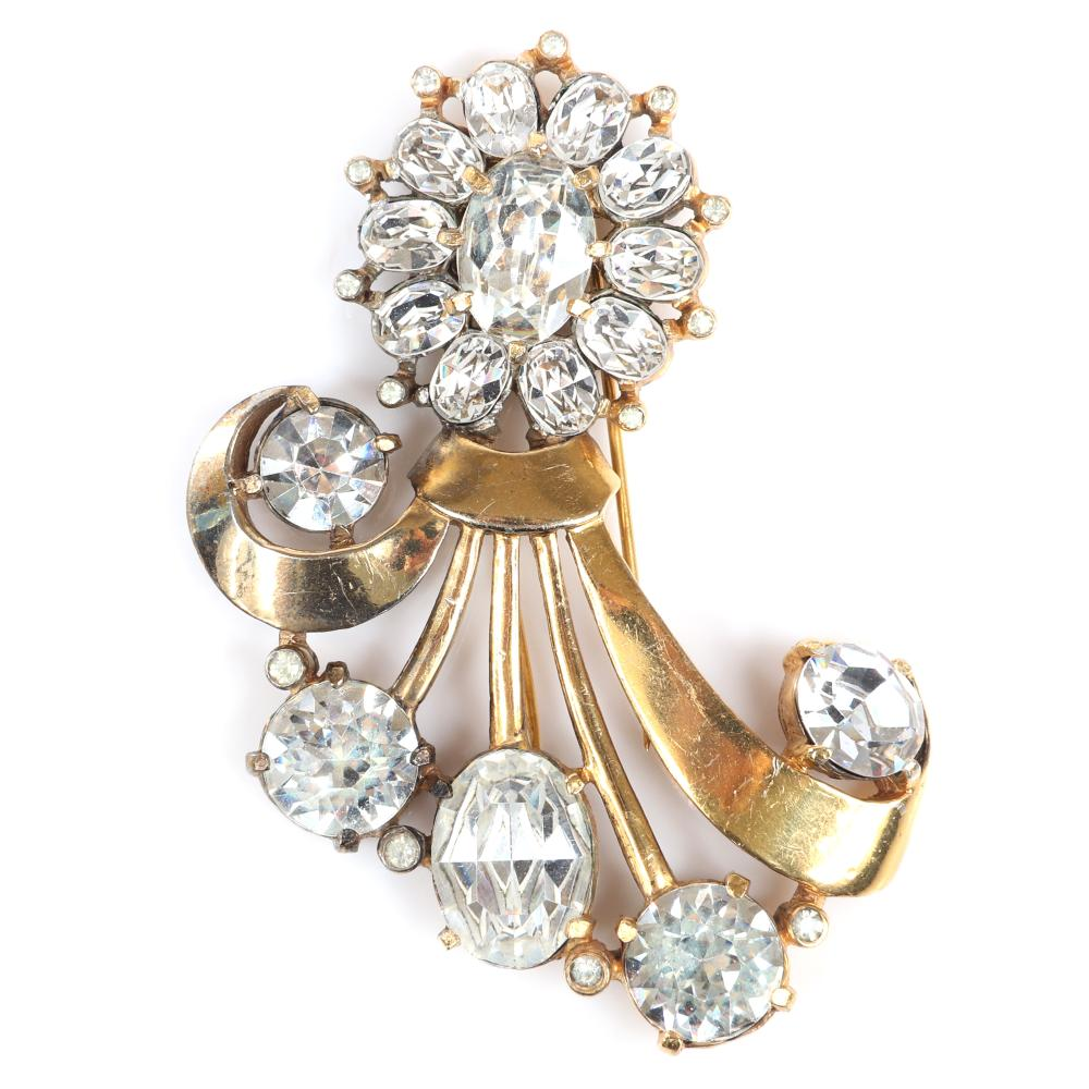 """Eisenberg Original abstract bouquet fur clip in gold washed pot metal with huge faceted crystals in various shapes and bezel-sets, with setter's mark, 1940s. 3 1/2"""" x 2 1/2"""""""