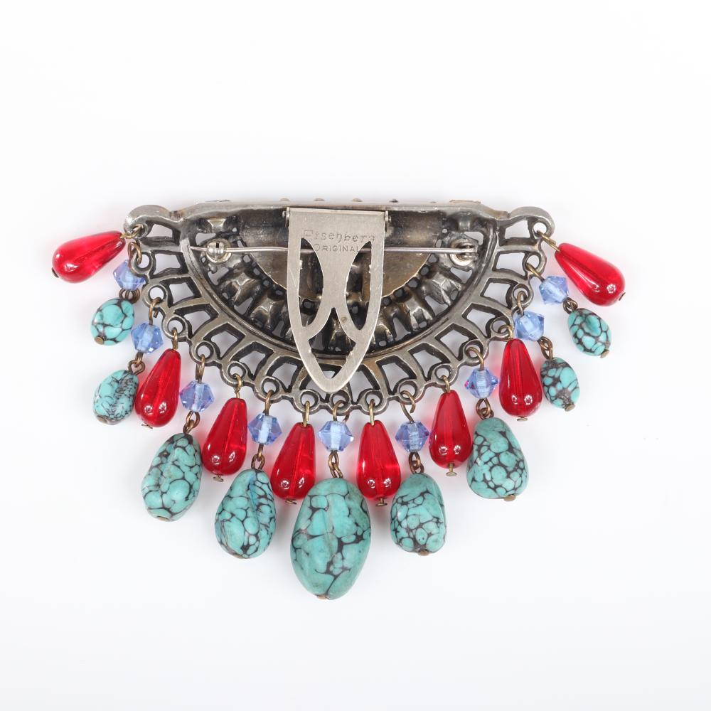 """Eisenberg Original rare, unusual half-moon dress clip with square rhinestones, faux turquoise beads & layers of dangling graduated faux turquoise nuggets, ruby glass teardrops, stamped R. 3"""" x 4 1/2"""""""