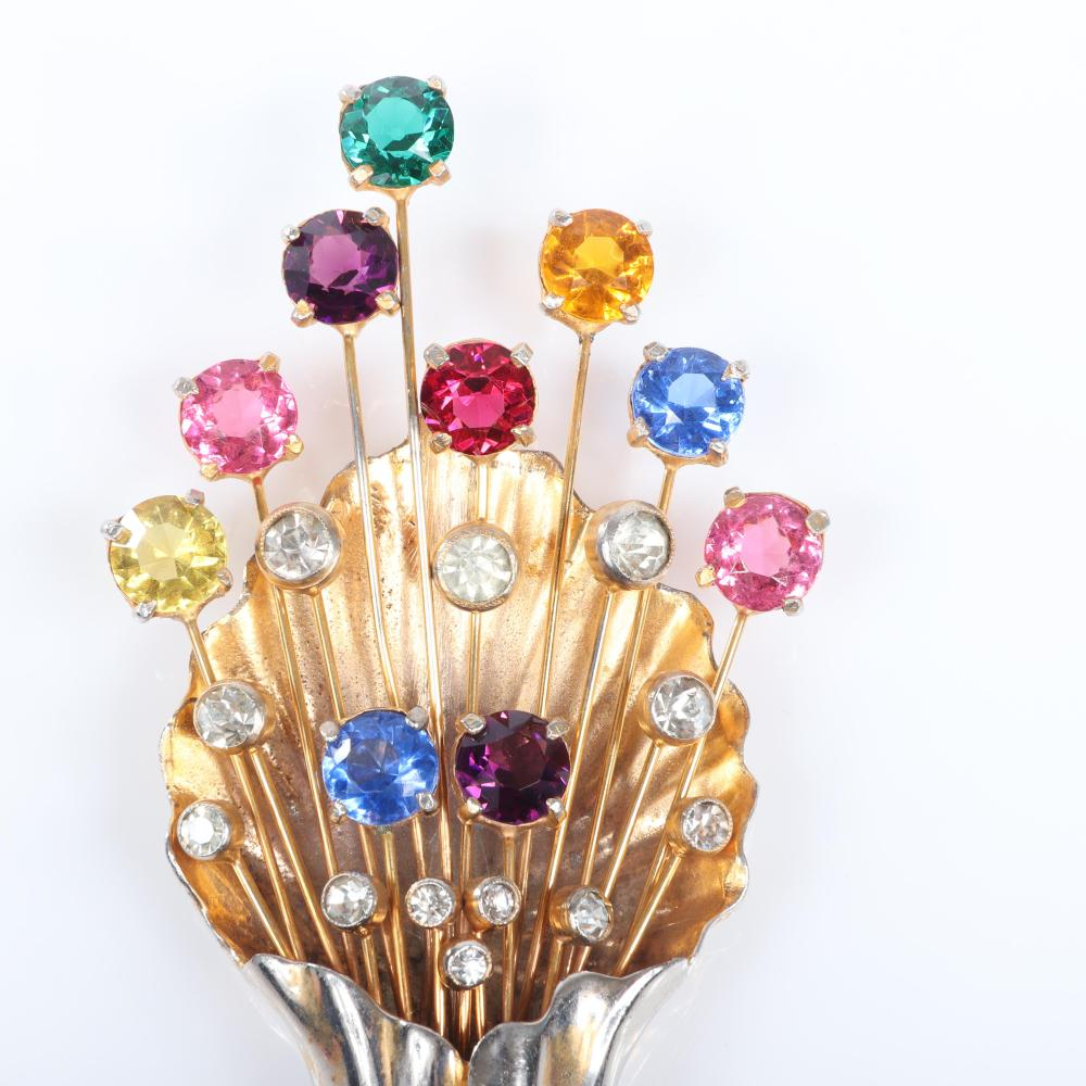 """Eisenberg Original large gold washed shell spray fur clip with wired jewel tone, open-backed crystals and large bezel-set rhinestones. 4 1/4"""" x 2"""""""