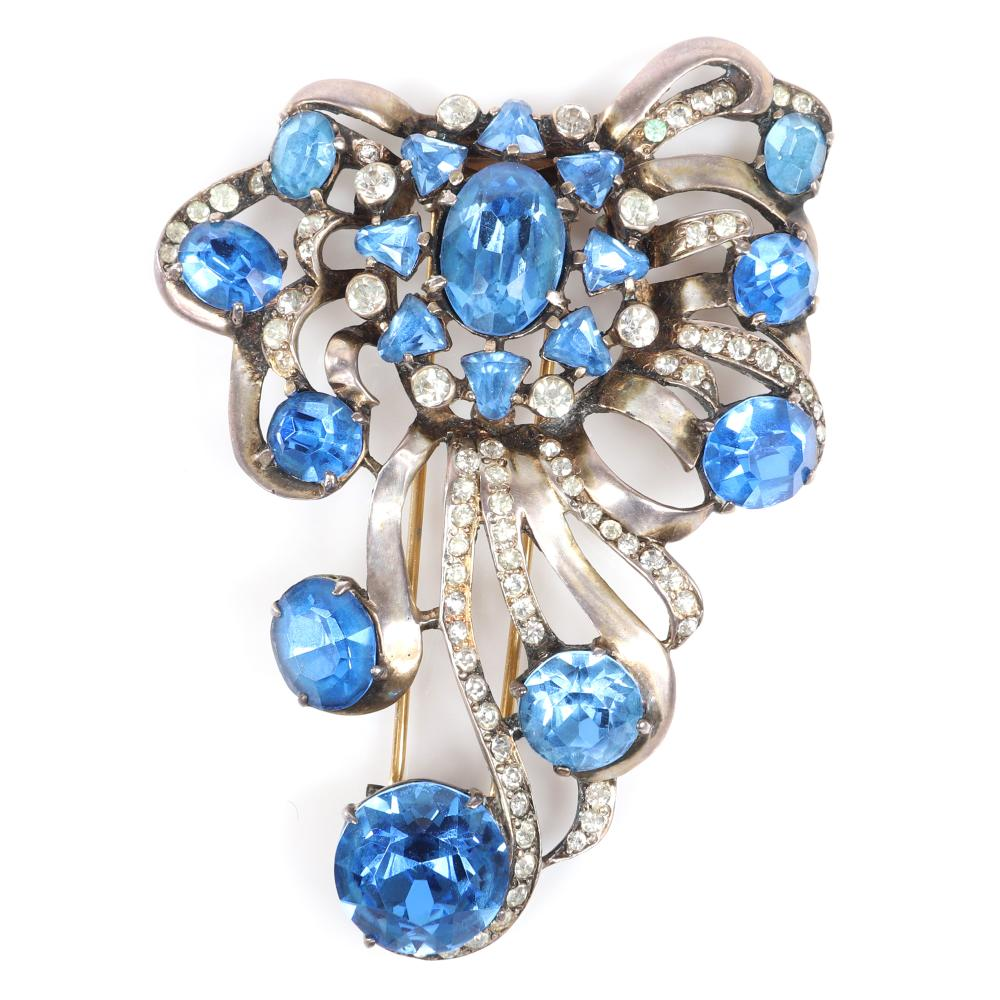 "Eisenberg Original sterling vermeil large openwork layered fur clip with large faceted blue crystals, bezel-sets, and ribbon lines of pave, 1940s. 3 1/2"" x 2 1/2"""