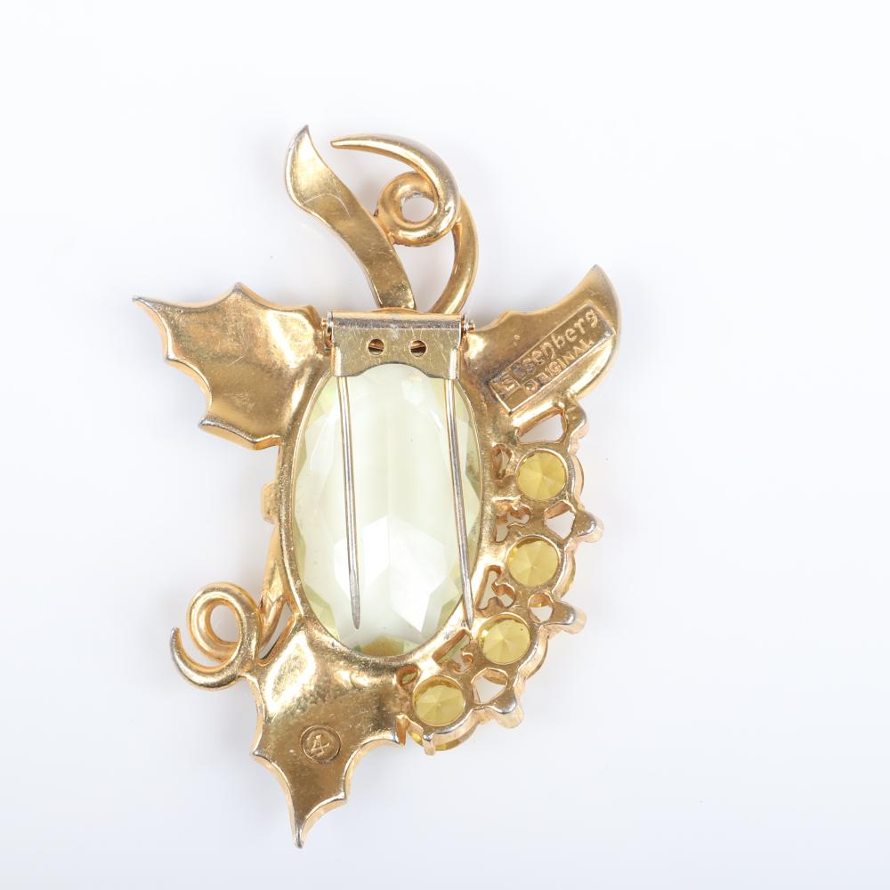 """Eisenberg Originals large sterling vermeil citrine jewel belly fur clip with green enamel, yellow rhinestones and pave, stamped 4. 3 1/4"""" x 2 1/4"""""""