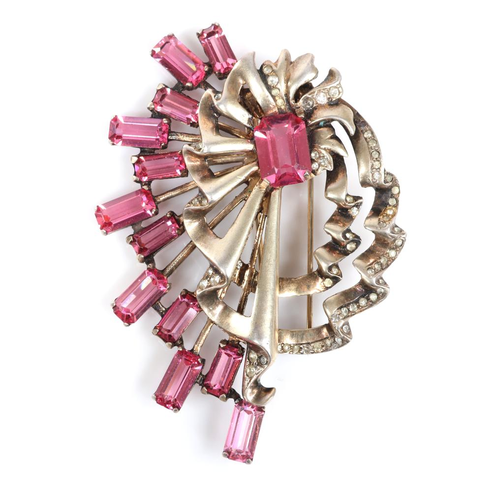 """Eisenberg Original large sterling vermeil layered swirling fan fur clip with large pink central crystals and rays with 12 emerald cut bright pink stones and pave details, c. 1930s. 3 1/2"""" x 2 3/4"""""""