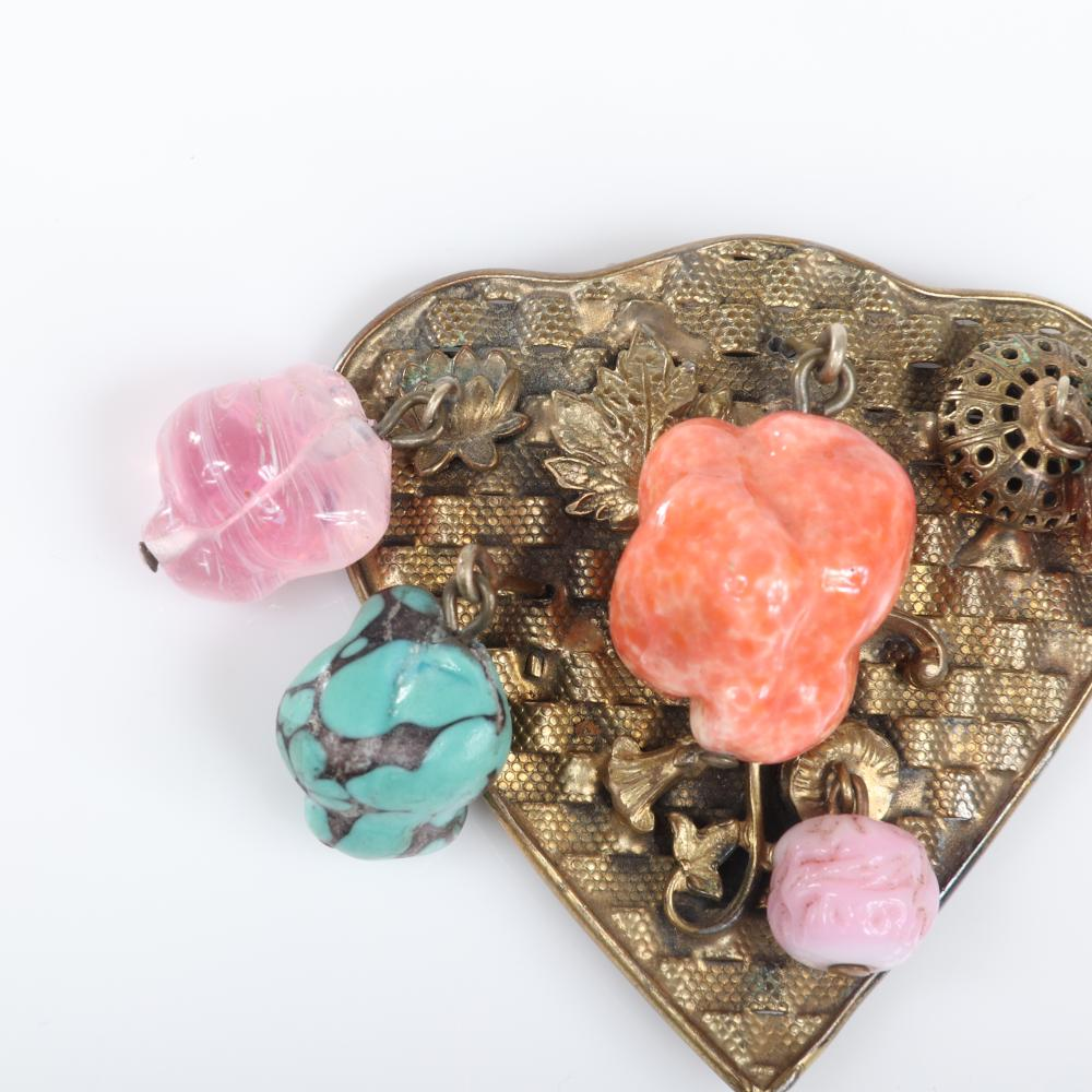 "Eisenberg Original antiqued gold basket woven shield-shaped dress clip with dangling glass nuggets of faux turquoise and coral and pink glass organic stones, c. 1930s 2 1/2"" x 2 1/2"""
