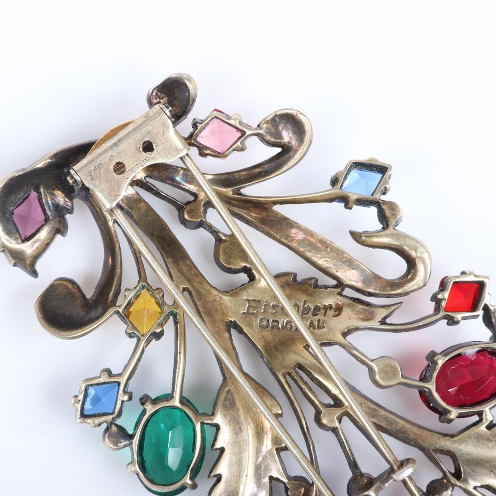 """Eisenberg Original sterling vermeil openwork floral spray with multicolored large faceted jewel-tone, open-backed crystals, lines of pave and bezel-sets, 1940s. 3 3/4"""" x 2 1/2"""""""