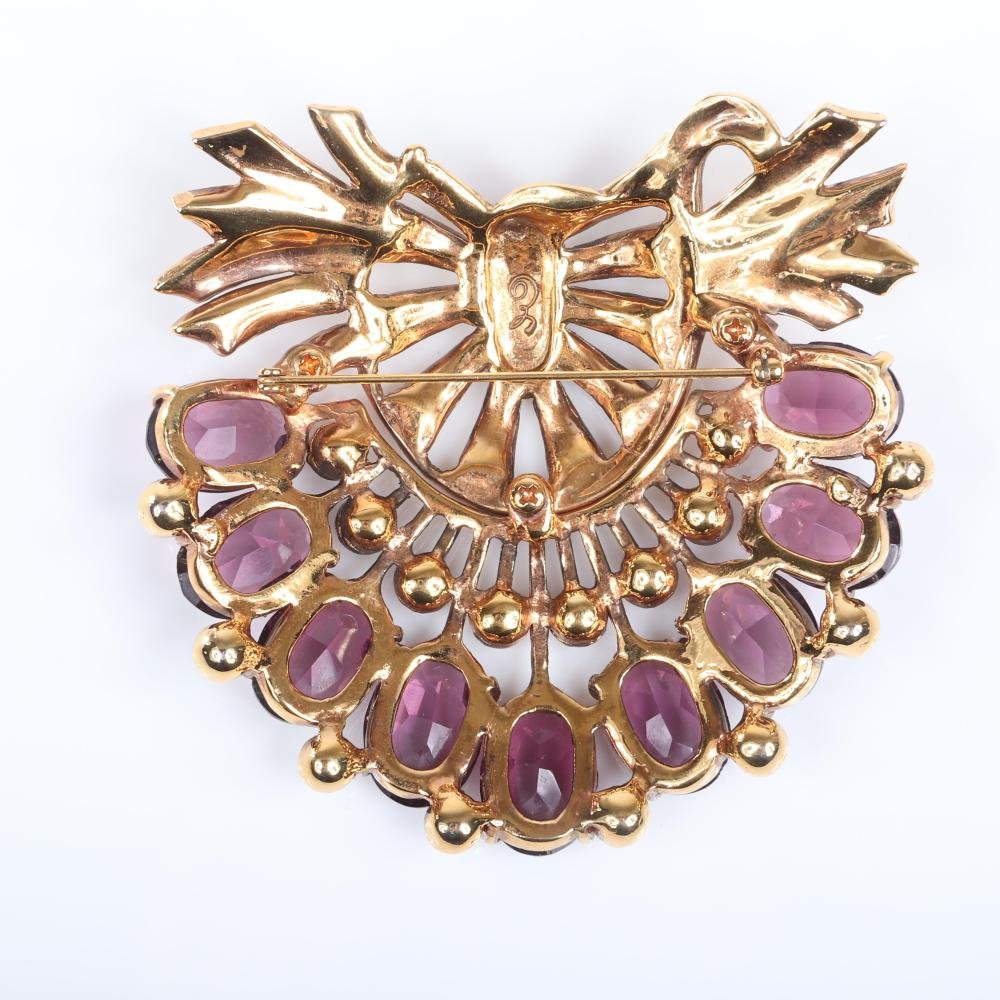 """Eisenberg GIANT bow and floral spray brooch; large faceted unfoiled amethyst crystals with clear diamante rhinestones, gold wash over metal, with script E, 1940s 3 1/2"""" x 3 1/2"""""""
