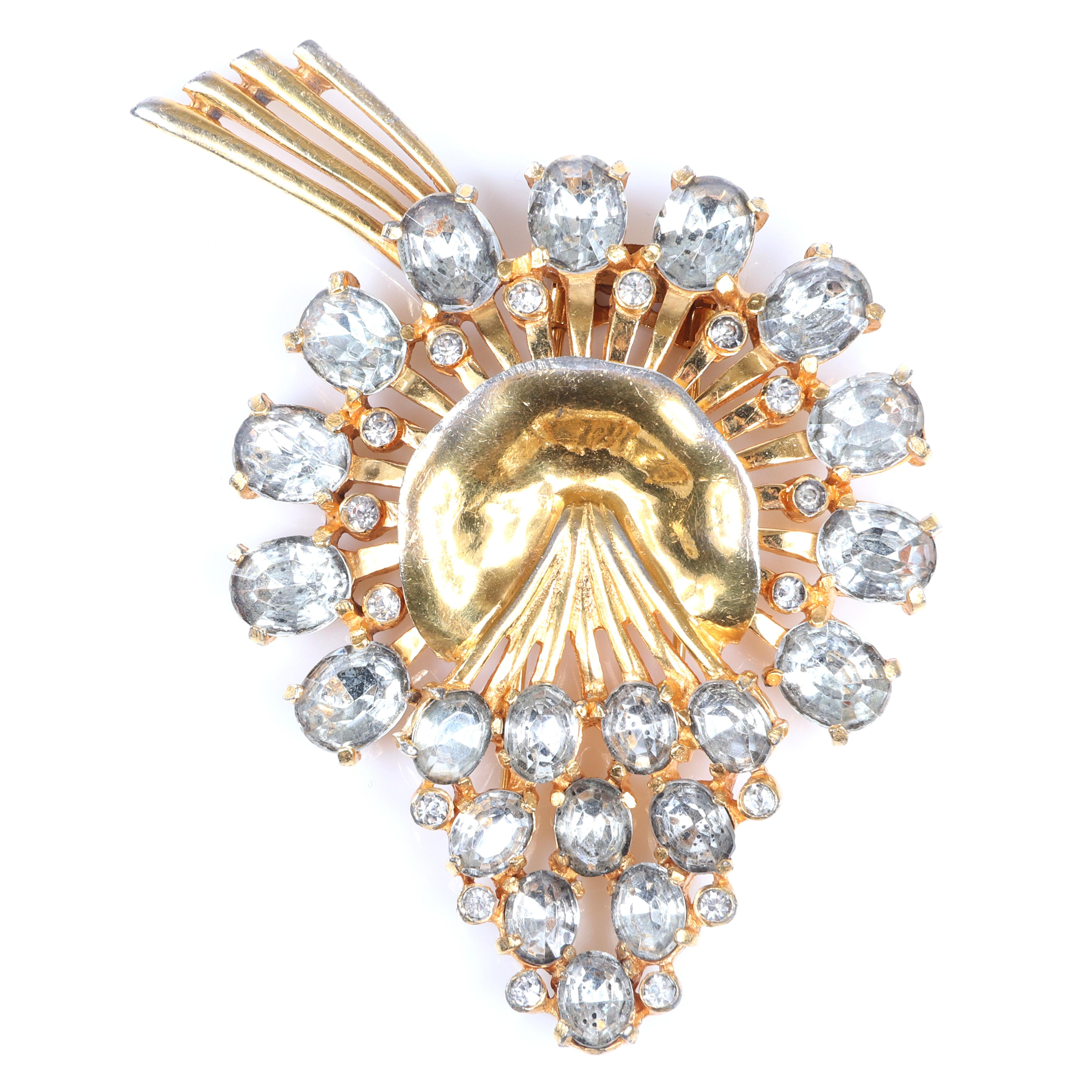 """Eisenberg Original stylized floral spray pin clip with colorless crystal diamante and rhinestone jewels, and gold wash over metal, with setter's mark, c. 1940s. 3 1/2"""" x 3"""""""