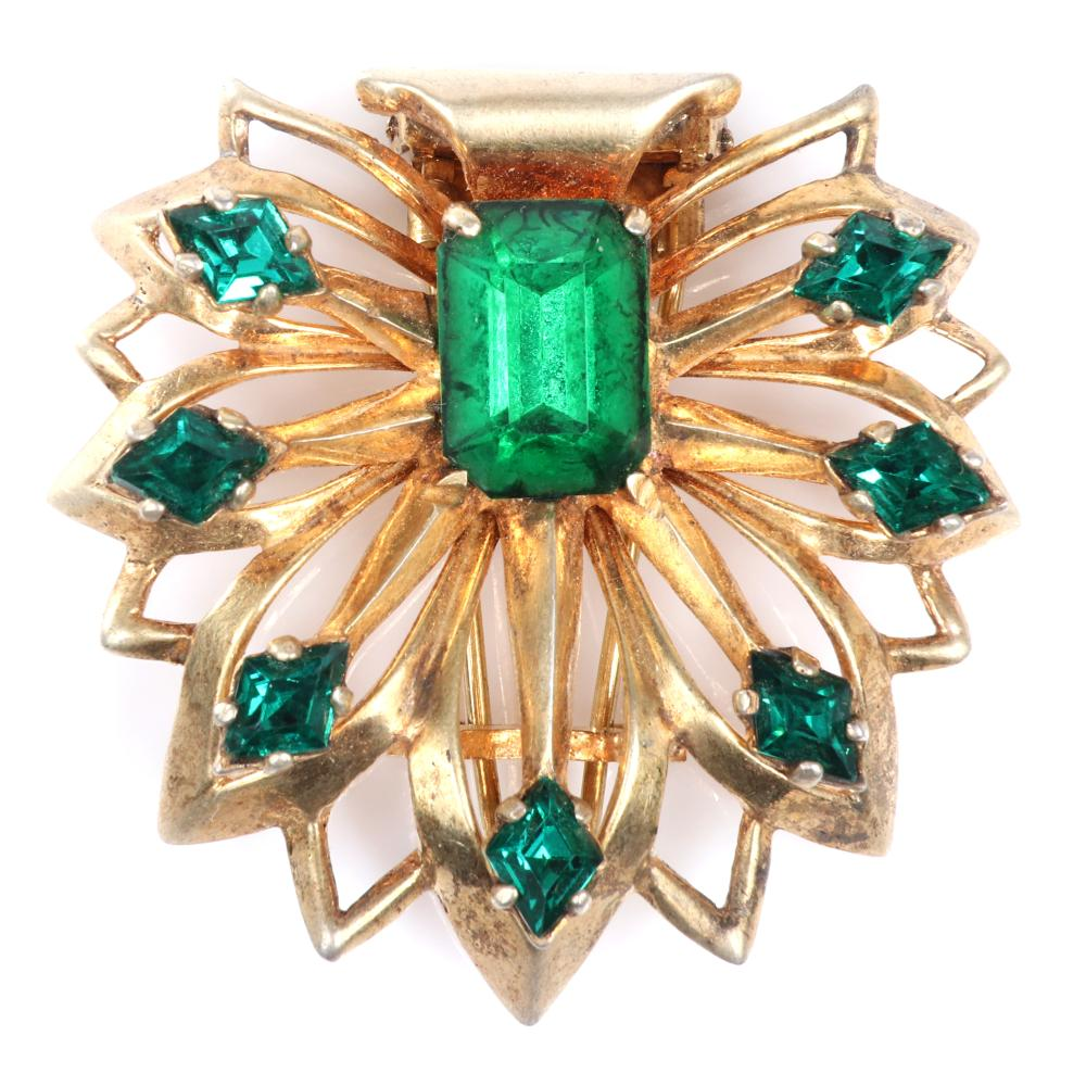 """Unsigned Eisenberg sterling vermeil layered openwork floral pin clip with emerald green faceted crystal jewels. 1 3/4"""" x 1 3/4"""""""