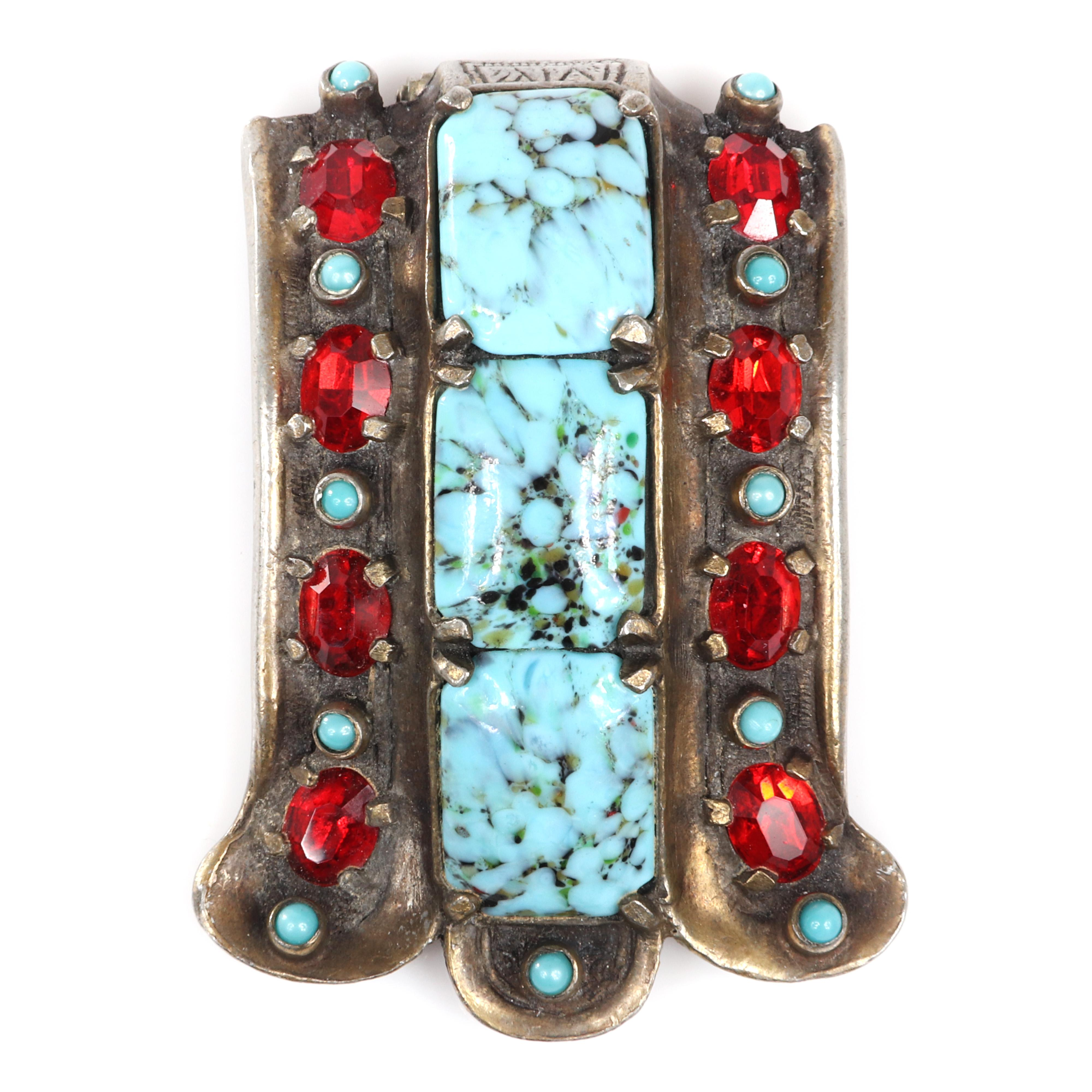 """Eisenberg Originals Deco scalloped wedge fur clip in gold washed pot metal with three large faux turquoise emerald cut stones surrounded by faux 8 bright ruby crystals, c. 1940s. 2 1/2"""" x 2"""""""