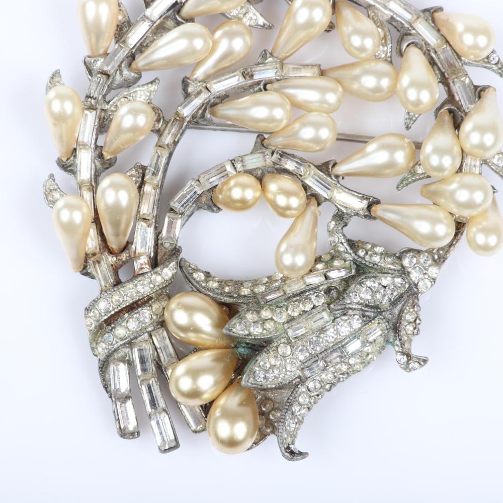 "Eisenberg Original large faux teardrop pearl and diamante rhinestone swirling flower spray wreath pin brooch in pot metal, c. 1940s. 3"" x 3"""