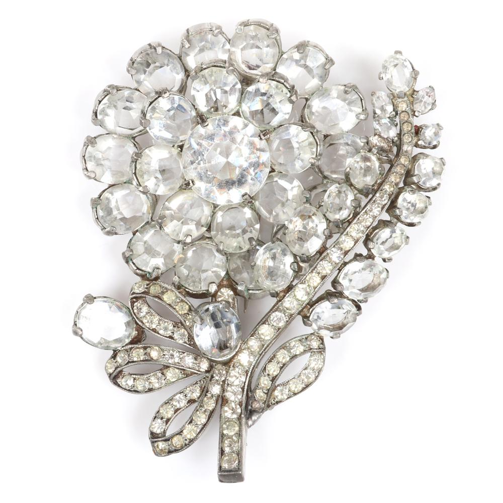 """Eisenberg Original GIANT layered daisy flower pin clip with colorless unfoiled crystal diamante jewels and rhinestones in pot metal. 3 3/4"""" x 3"""""""