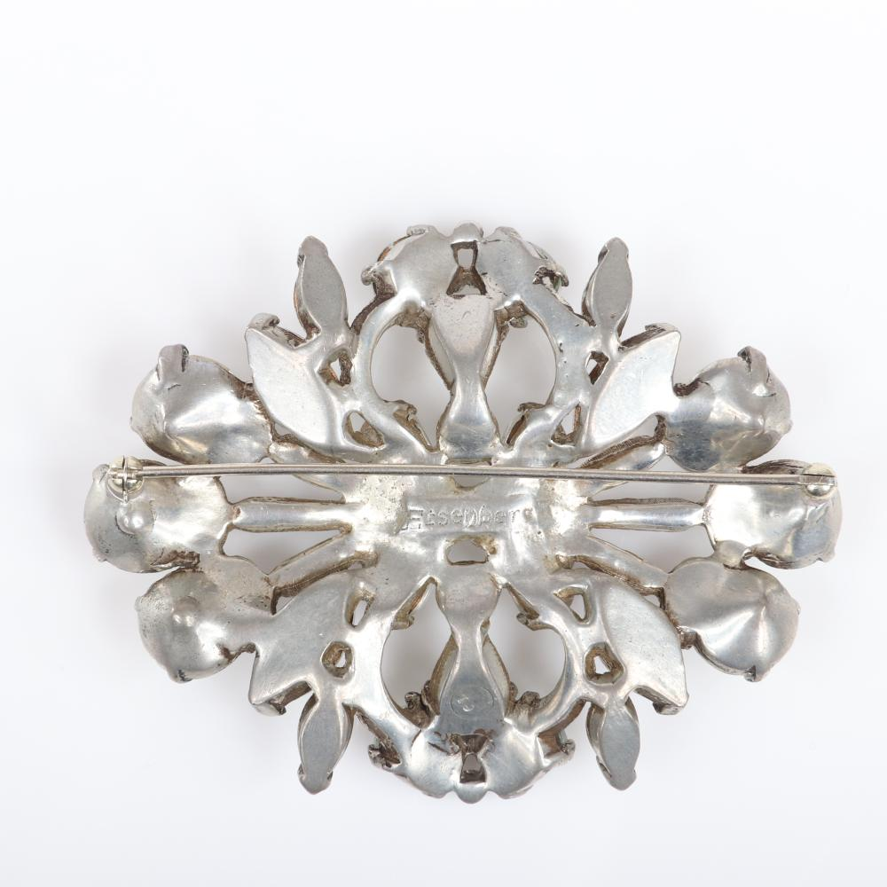 """Eisenberg Originals large layered stylized floral brooch in silver pot metal with colorless diamante crystals and rhinestones, c. 1940s. 2 1/2"""" x 3 1/8"""""""