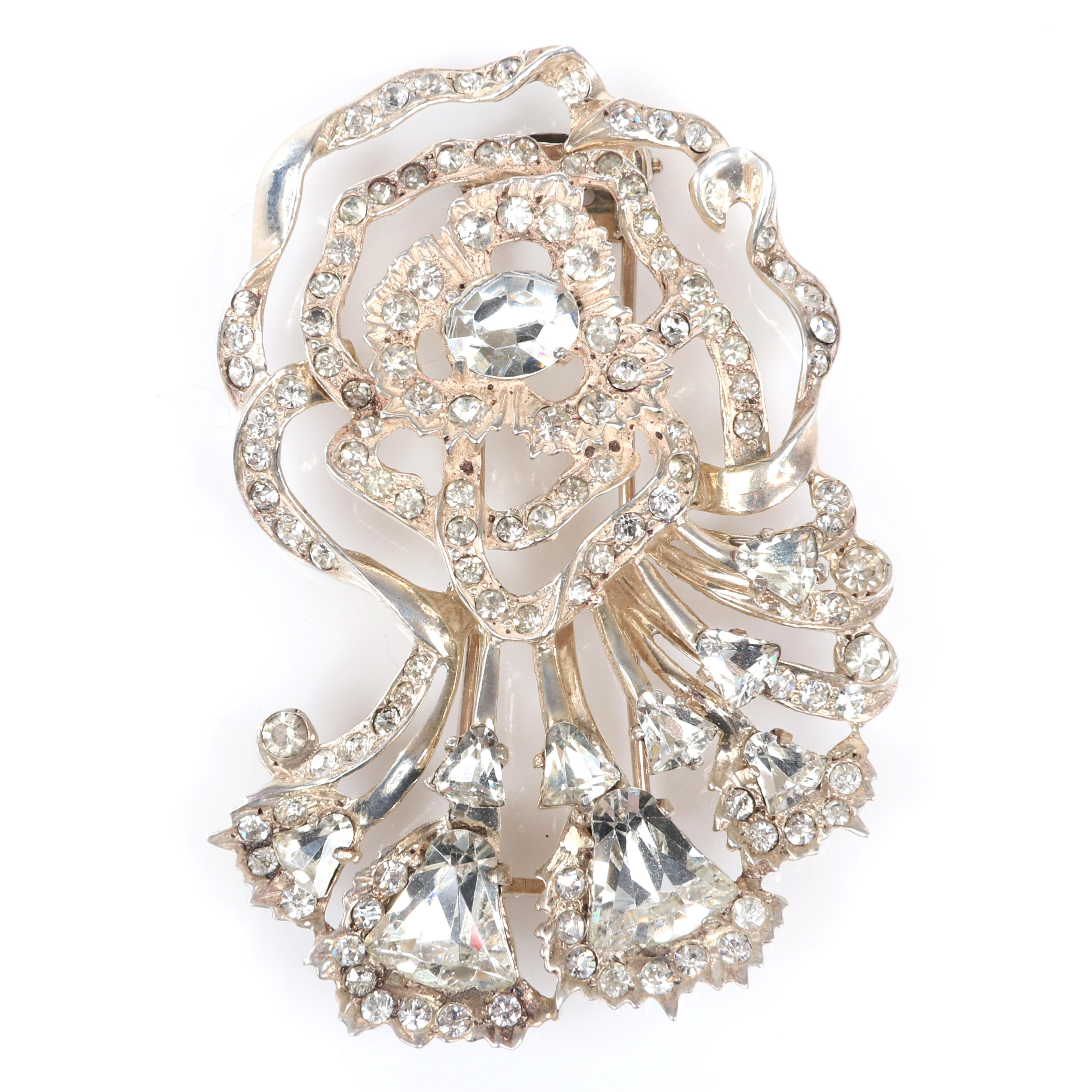 "Eisenberg Original sterling vermeil openwork rose flower fur clip with round and triangular rhinestones surrounded by pave ribbons, c. mid-1940s. 3"" x 2 1/2"""