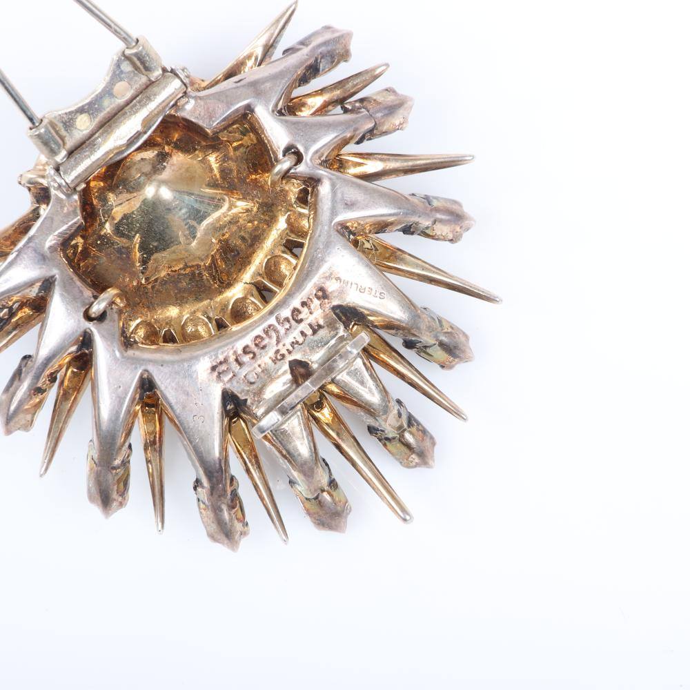 """Eisenberg Original shooting sterling vermeil shooting star fur clip with huge 1"""" emerald faceted crystal stone surrounded by gold spikes rays tipped in green marquises, c. 1940s. 2"""" x 2"""""""