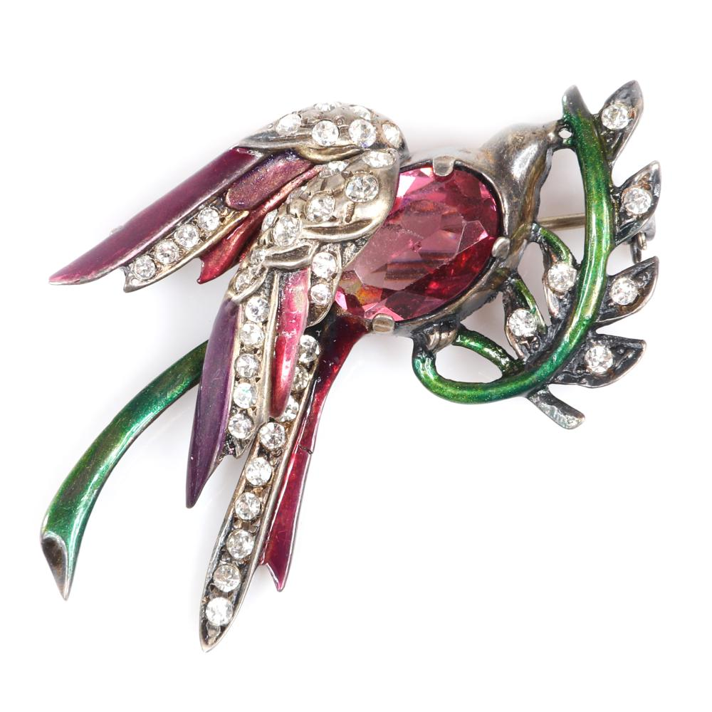 "Eisenberg Original sterling vermeil bird on branch layered pin brooch with cranberry crystal jewel belly, metallic enamel, and rhinestones. 2 1/4"" x 1 1/2"""