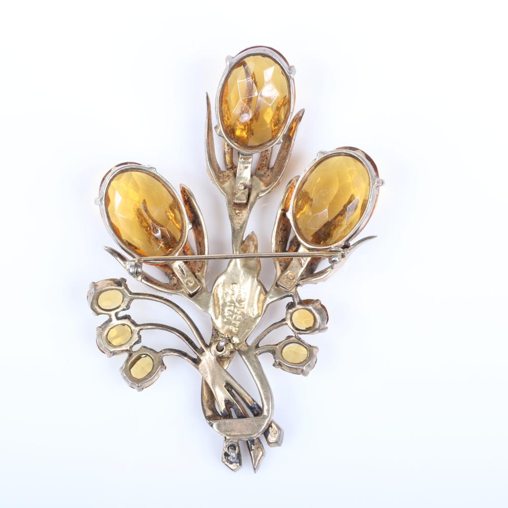 "Eisenberg Original GIANT floral spray brooch in gold washed metal with three 1"" citrine jewel belly buds, unfoiled citrine rhinestones and pave details, c. 1940s. 4"" x 2 1/2"""