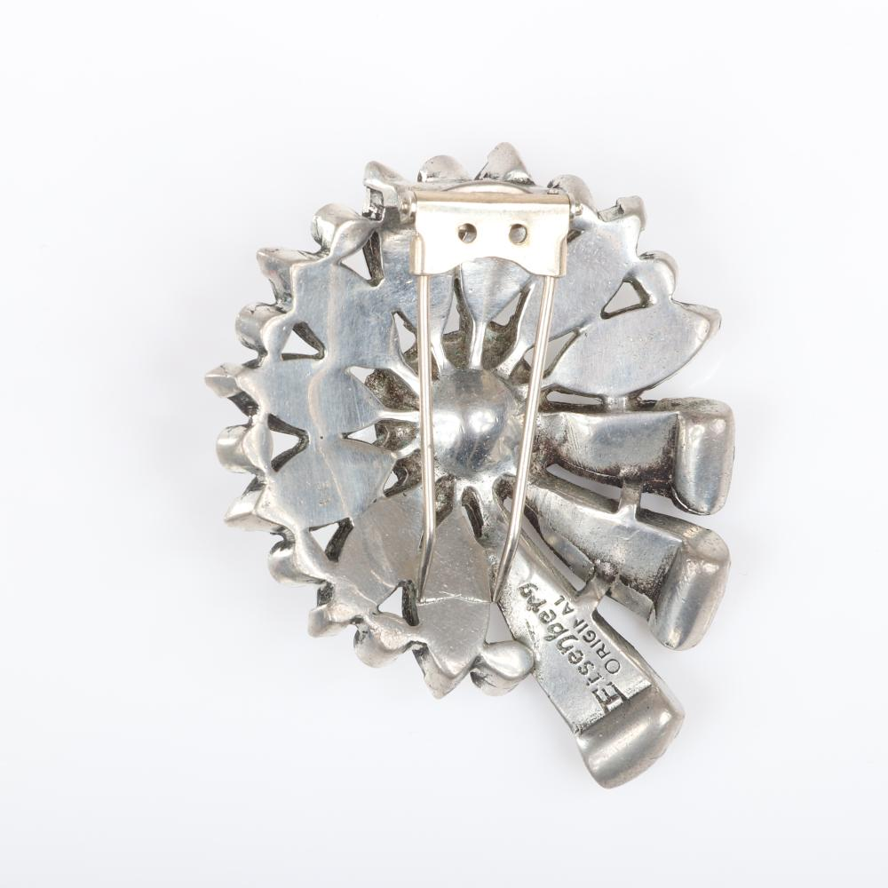 """Eisenberg Original flower and ribbon pot metal pin clip with large colorless crystal center jewel, diamante petals, and rhinestones, c. 1940s. 2 3/8"""" x 2"""""""