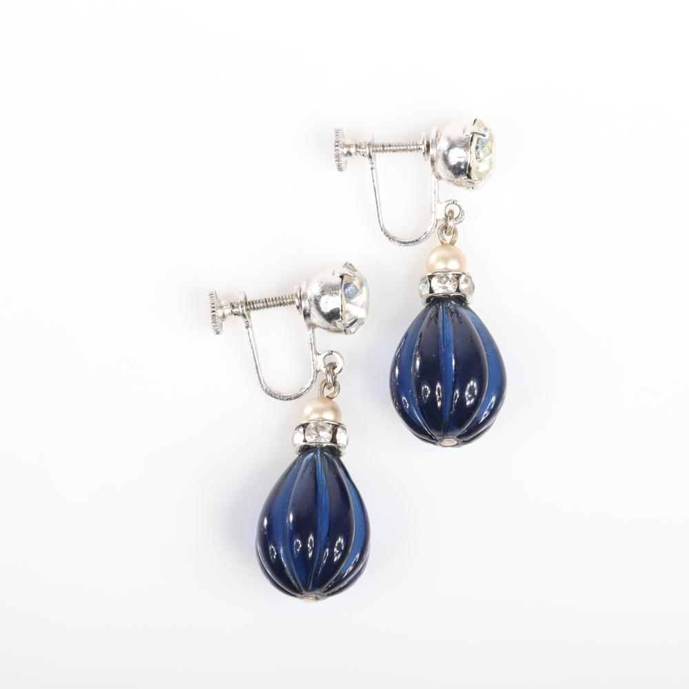 """Eisenberg Ice silver metal stunning drop post earrings with large prong-set rhinestones, faux pearls, rondelles, and large sapphire blue molded melon glass teardrops. 1 1/2""""H"""
