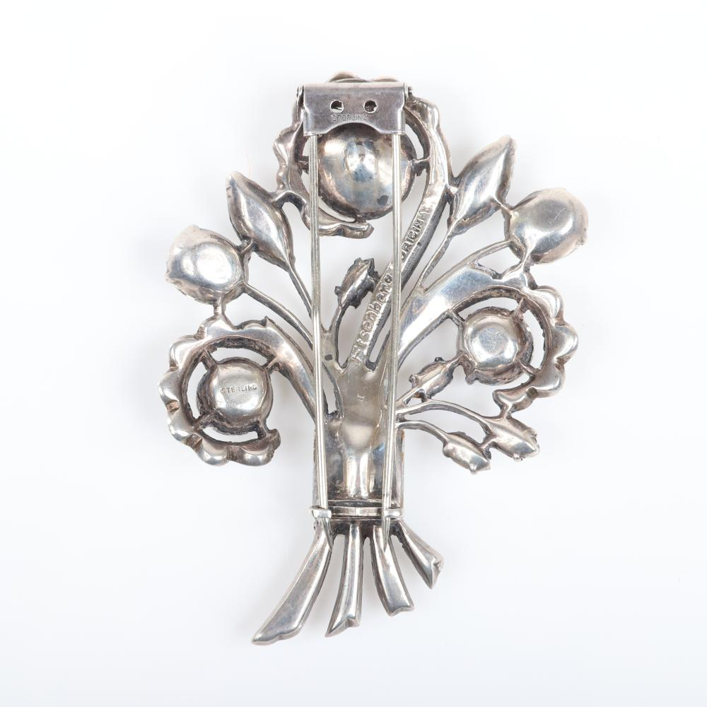 """Eisenberg Original sterling spray brooch with huge faceted crystals and lines of pave, c. 1940s. 3"""" x 2 1/2"""""""