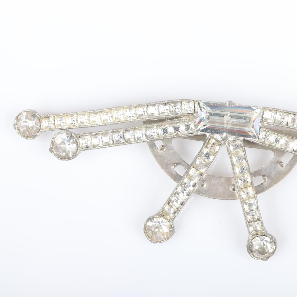 """Eisenberg Originals unusual large dress clip with additional loops to sew on, large emerald-cut and channel-set square crystals tipped in larger rhinestones, c. 1949s. 1 1/2"""" x 4"""""""
