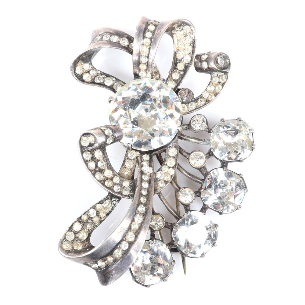 """Eisenberg Original sterling silver, diamante bow fur clip with large central rhinestone, sprays of round crystals, bezel-sets, and lines of rhinestones. 3 1/4"""" x 2 1/4"""""""