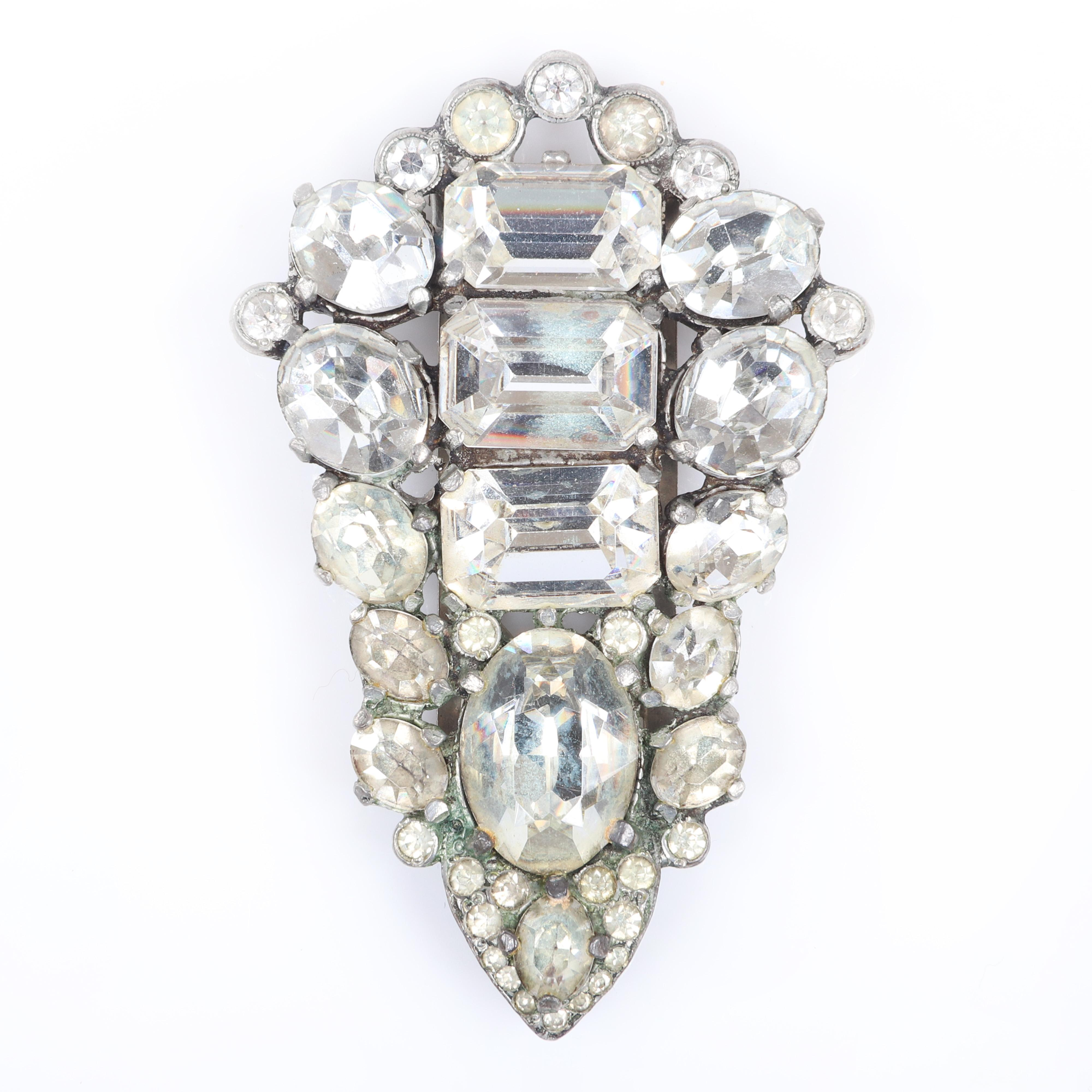 """Eisenberg Original diamante jeweled dress clip with large emerald-cut and oval faceted rhinestones tipped in bezel-set stones. 3"""" x 2"""""""