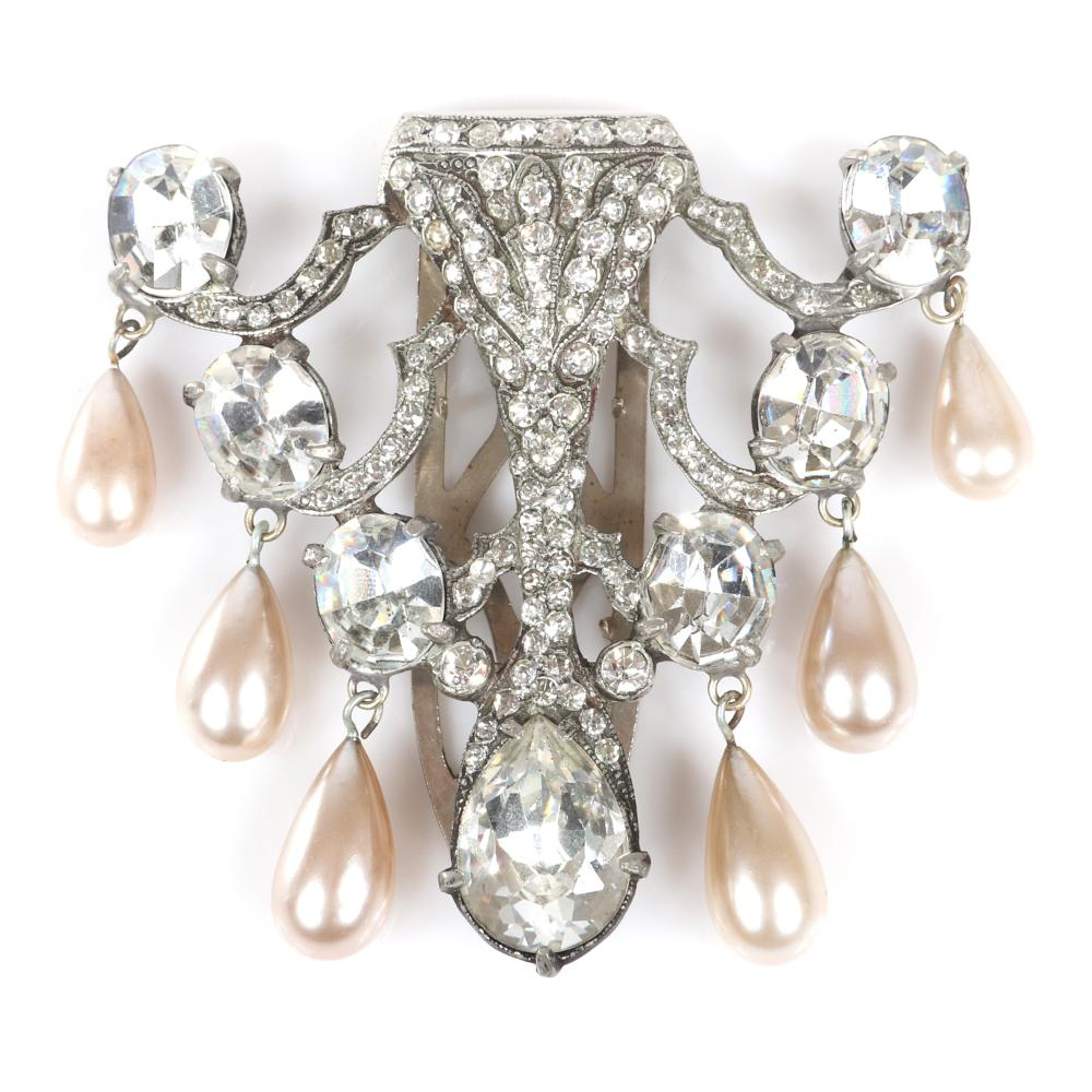 """Eisenberg Original Coronation of Queen Elizabeth II, open-work fur clip, antiqued silver pot metal encrusted in pave with 7 large faceted crystals & 6 faux pearl dangles, c. 1940. 2 3/4"""" x 2 1/2"""""""