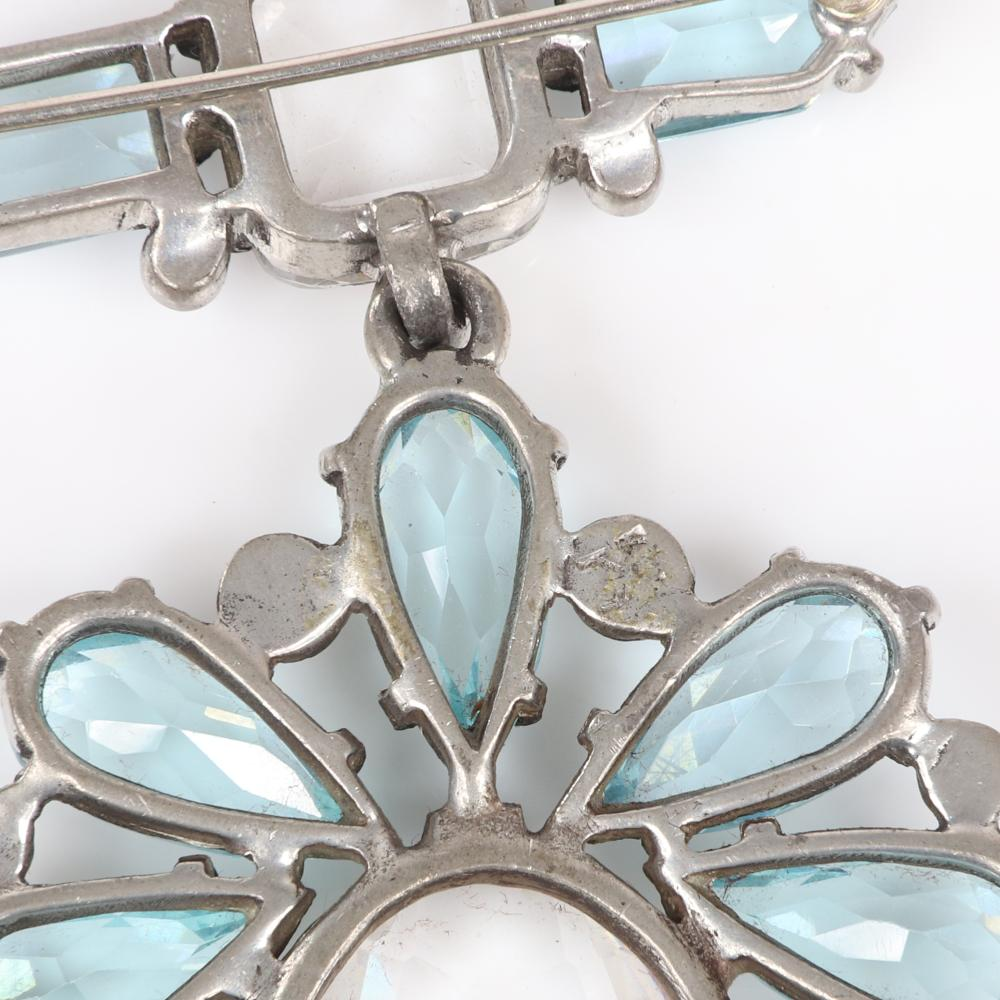 "Eisenberg Original Rare Victorian inspired bar pin with bottom pendant & huge open-backed oval central crystal surrounded by pale blue pear stones & bezel-sets, late 1930s. 3 1/4"" x 2 3/4"""
