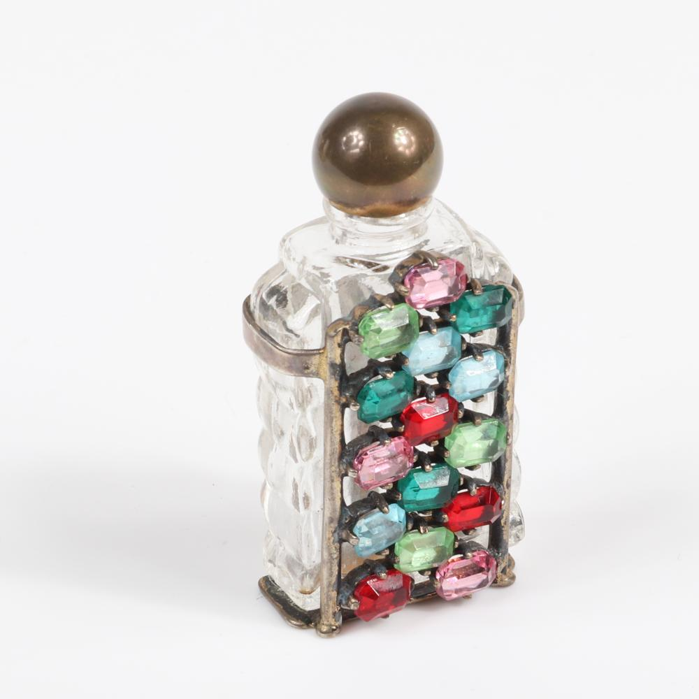 "Eisenberg Originals sterling silver mounted jeweled perfume bottle in original box with large jewel tone multi-colored, emerald-cut rhinestones, c. 1940s. 2 3/8"" (bottle)"