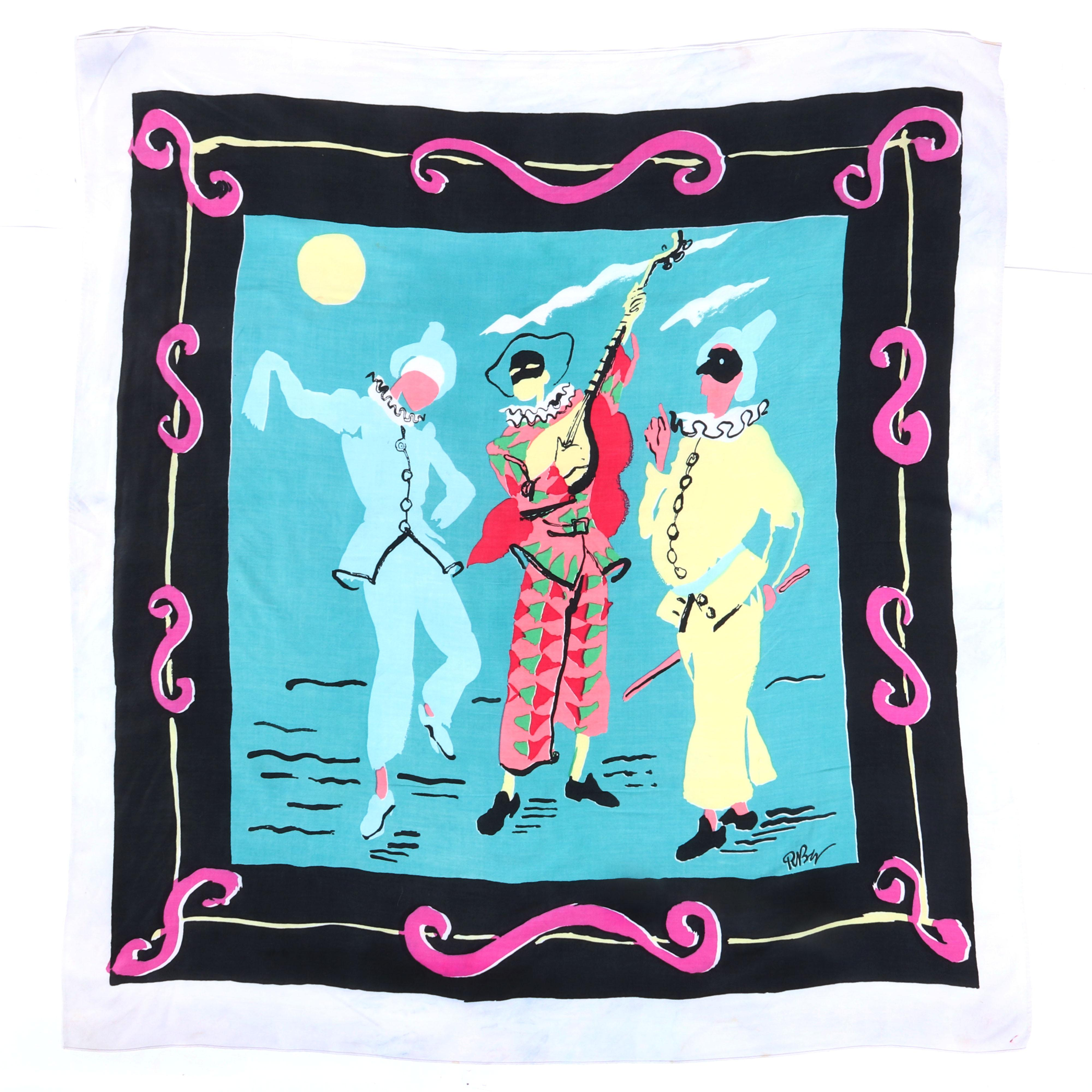 """Eisenberg Original Celebration scarf with costumed jester harlequin figures in pastel colors with black and orange scrolling border, signed RBW, mid-1940s. 38"""" x 36"""""""