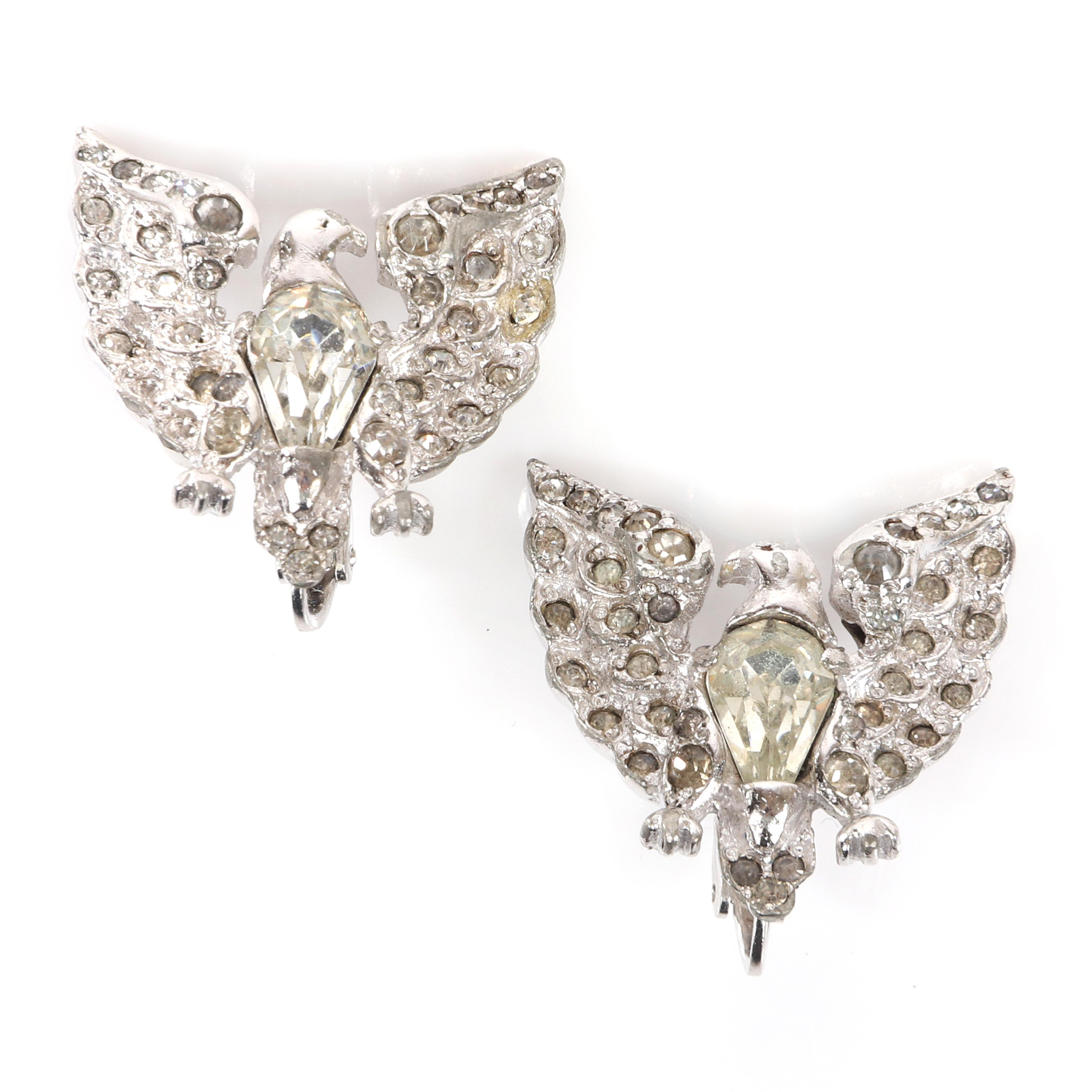 """Eisenberg Original rare iconic eagle earrings with rhodium base and pear-shaped bezel-set stones and pave on wings, page 156, figure 6.24. 1 1/4"""" x 1"""""""