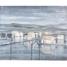 "Jean-Pierre Capron, (French, 1921-1997), untitled, 1959, (village scene), oil on canvas, 32""H x 37""W (sight) 40""H x 47""W (frame)"