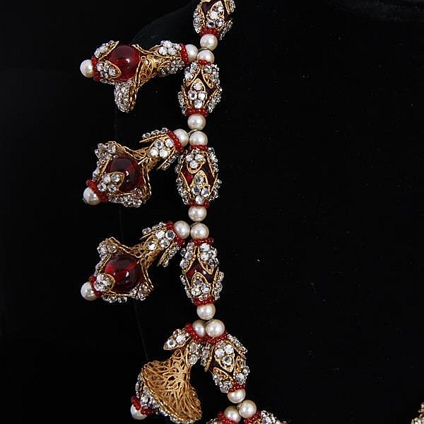 Stunning Miriam Haskell Necklace; gilt filigree encrusted with faux pearls, rhinestones, & red glass beads.