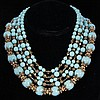 Image 1 for Miriam Haskell Multi-strand turquoise blue art deco necklace with gilt metal & rhinestones.