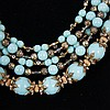 Image 3 for Miriam Haskell Multi-strand turquoise blue art deco necklace with gilt metal & rhinestones.
