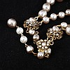 Image 4 for Miriam Haskell 2pc. Set; Faux pearl & rhinestone floral necklace & chip earrings