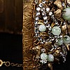 Image 5 for Miriam Haskell Wide Floral Hinged Cuff Bracelet with gilt metal, rhinestones, & green glass beaded flowers.