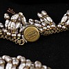 Image 13 for Miriam Haskell 4pc. Set; Faux pearl fringe necklace, bracelet, brooch pin, & clip earrings.
