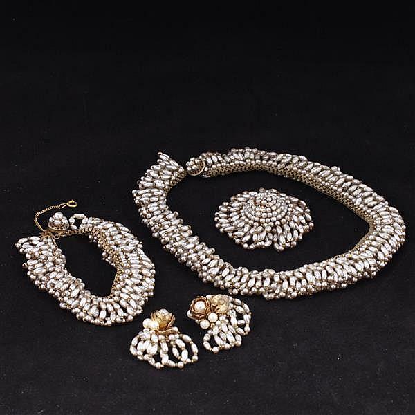 Miriam Haskell 4pc. Set; Faux pearl fringe necklace, bracelet, brooch pin, & clip earrings.