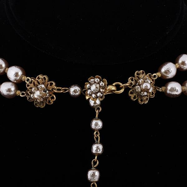 Miriam Haskell 3pc. Set; Faux Pearls & Seed Pearls Beaded Necklace, Bracelet, & Floral Clip Earrings