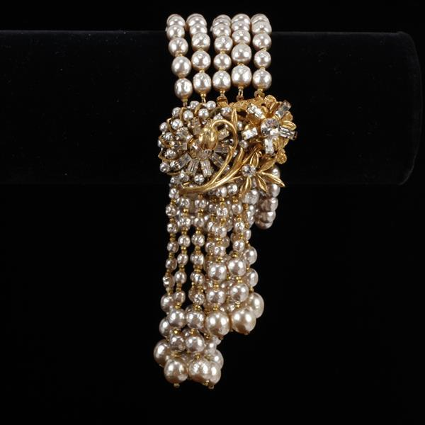 Miriam Haskell 3pc. Set; Faux Pearl & Rhinestone Floral Necklace, Bracelet, & Brooch Pin