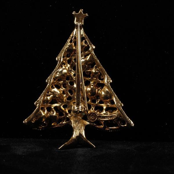 Hollycraft 3pc. Rhinestone Christmas Tree brooch pins