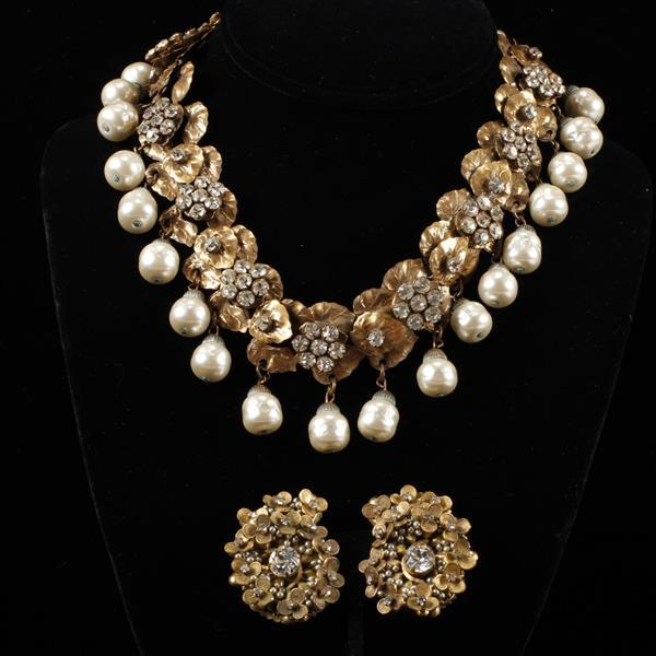 Miriam Haskell 2pc. Large Faux pearl drop & floral rhinestone gilt metal necklace & clip earrings