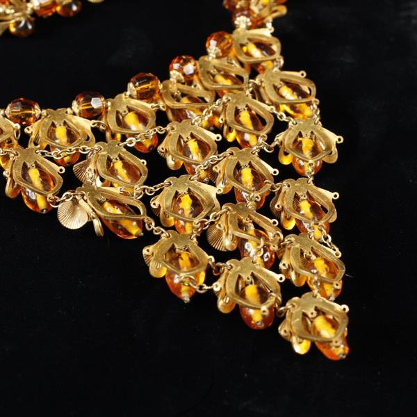 Miriam Haskell Amber Glass & Gilt Metal Bib Necklace