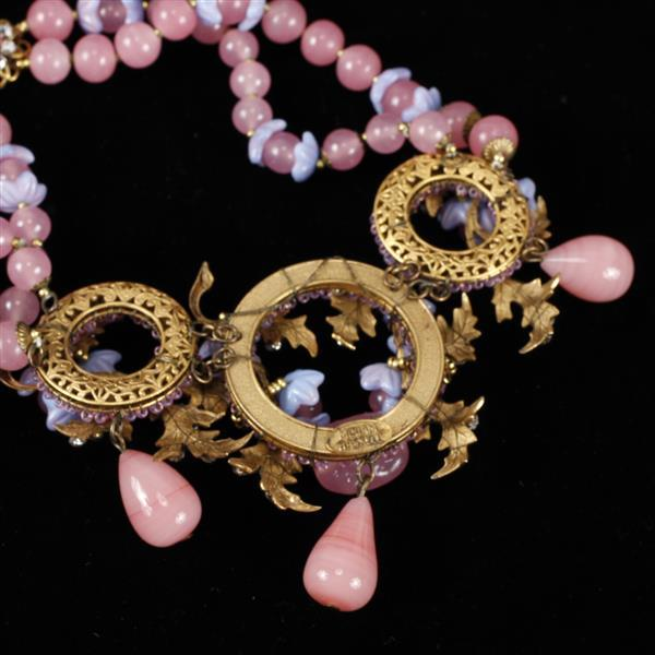 Miriam Haskell Festive Pink & Purple Poured Glass Floral Beaded with gilt leaves and rhinestones