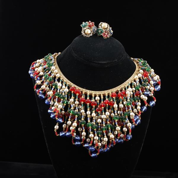 Fantastic Miriam Haskell 2pc. Polychrome Bead Bib Necklace & Clip Earrings Horseshoe Mark