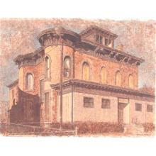 """Harry A. Davis Jr., (Indiana, 1914-2006), Italianate, 1238 N. Park Ave., Indianapolis, IN (corner of 13th & Park), watercolor and acrylic on paper, 22 3/4""""H x 30""""W"""
