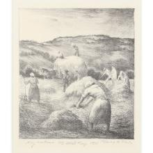 """Harry A. Davis, (Indiana, 1914-2006), Haymakers, 1938, lithograph, 7 1/2""""H x 6 1/4""""W (sight), 16 3/4""""H x 13 3/4""""W (frame)"""